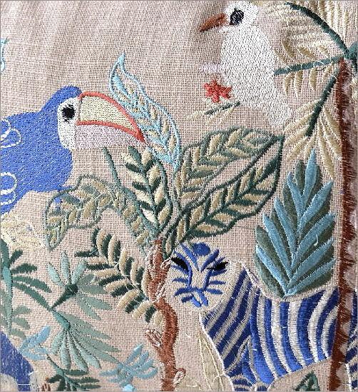 ジャングル刺繍レクタングルクッション 2カラー(3)