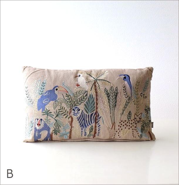 ジャングル刺繍レクタングルクッション 2カラー(6)
