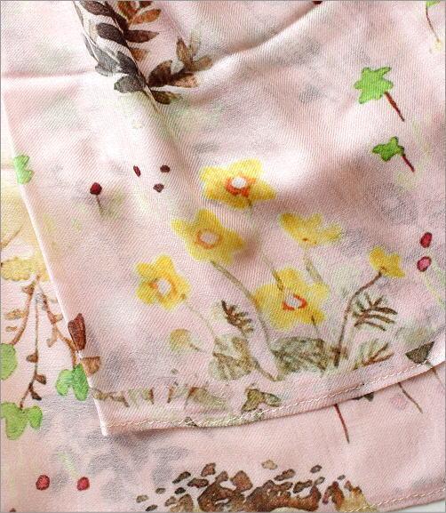 シルクモダール花柄ショール(3)