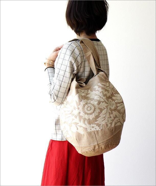 コットンアップリケ刺繍ショルダーバッグ NA(1)