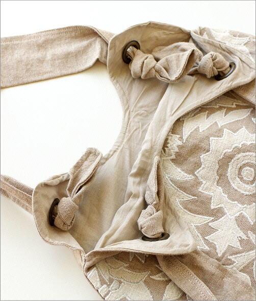コットンアップリケ刺繍ショルダーバッグ NA(2)