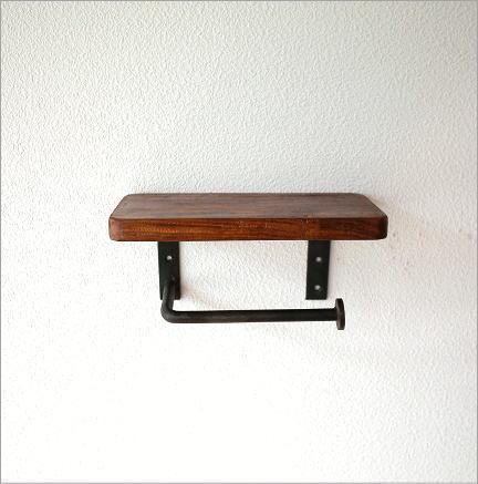 木製棚付きのシンプルなトイレットペーパーホルダーです
