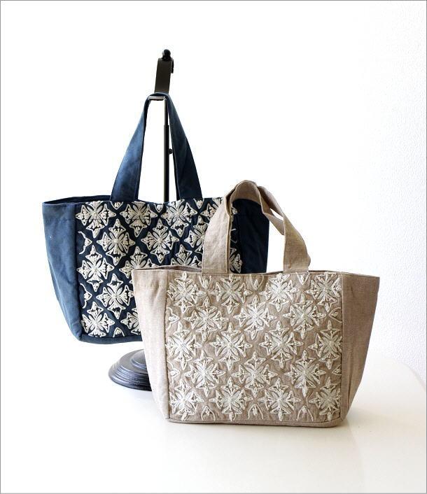 コットン刺繍ランチバッグ 2カラー(1)