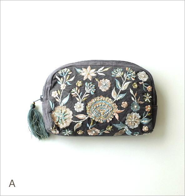 ビーズ刺繍ポーチB 3カラー(1)