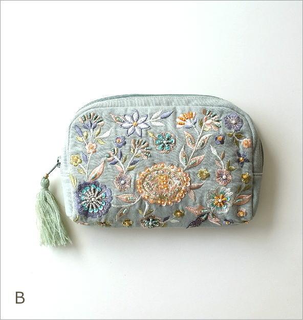 ビーズ刺繍ポーチB 3カラー(2)