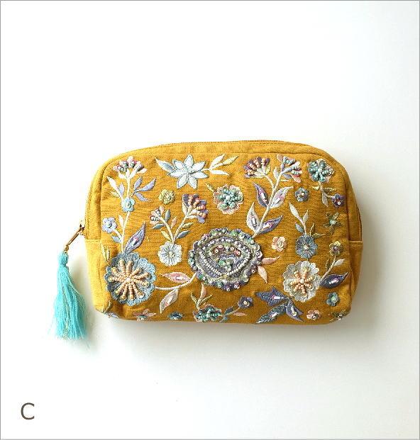 ビーズ刺繍ポーチB 3カラー(3)