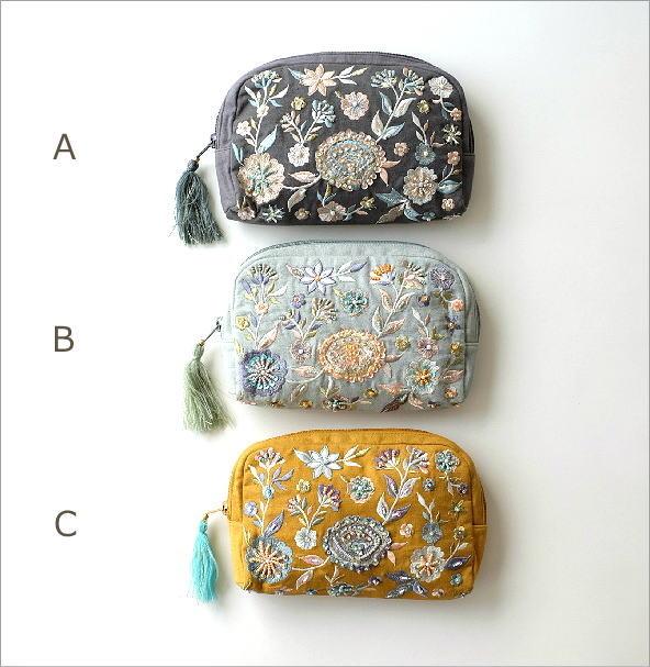 ビーズ刺繍ポーチB 3カラー(6)