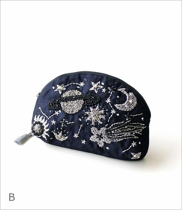 マチ付ポーチ 宇宙刺繍2カラー(7)