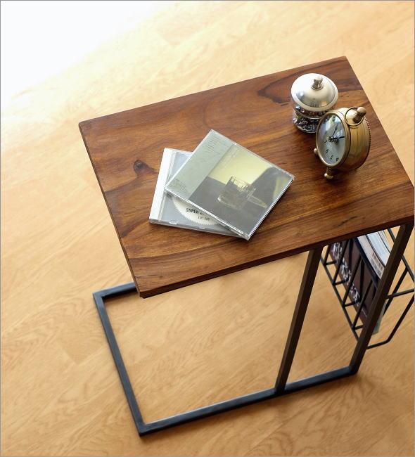 シーシャムとアイアンのサイドテーブル マガジンラック付き(1)