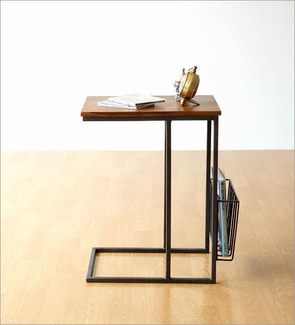 シーシャムとアイアンのサイドテーブル マガジンラック付き(4)
