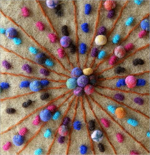 フェルトカラフル刺繍卵型バッグBE(2)