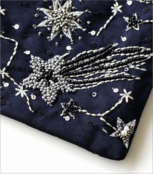 フラットポーチ 宇宙刺繍2カラー(3)