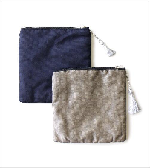 フラットポーチ 宇宙刺繍2カラー(5)