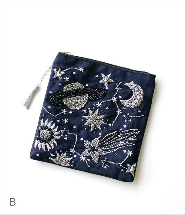 フラットポーチ 宇宙刺繍2カラー(7)