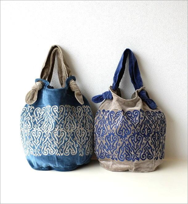 コットンベロア刺繍バッグ 2カラー(1)
