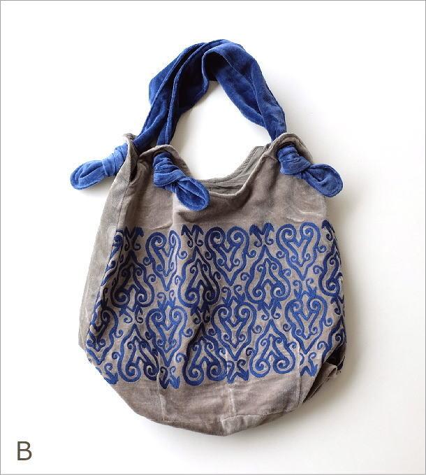 コットンベロア刺繍バッグ 2カラー(7)