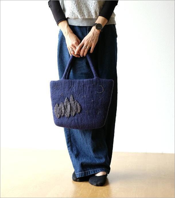 フェルトナイトスカイ刺繍横長バッグ(4)