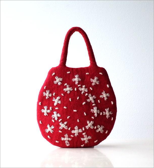 フェルトデイジー刺繍卵型バッグ(5)