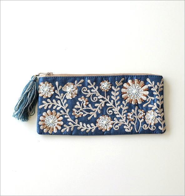 ビーズ刺繍横長フラットポーチ 2カラー(1)