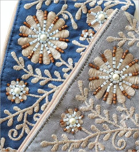 ビーズ刺繍横長フラットポーチ 2カラー(3)