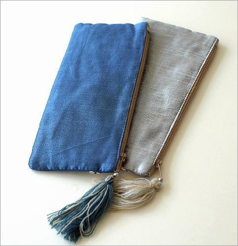 ビーズ刺繍横長フラットポーチ 2カラー(4)
