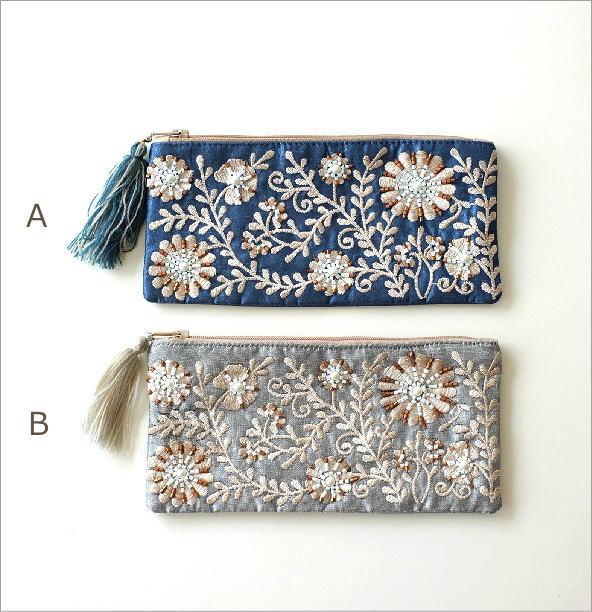 ビーズ刺繍横長フラットポーチ 2カラー(5)
