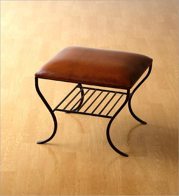 革製 椅子 アイアンと本革のスクエアツール 棚付き(4)