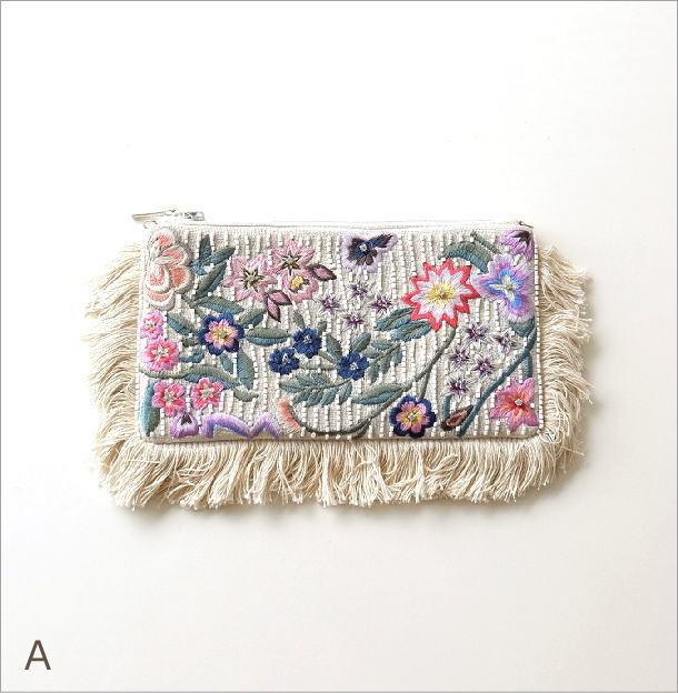 ビーズ刺繍 横長ポーチ 2タイプ(4)