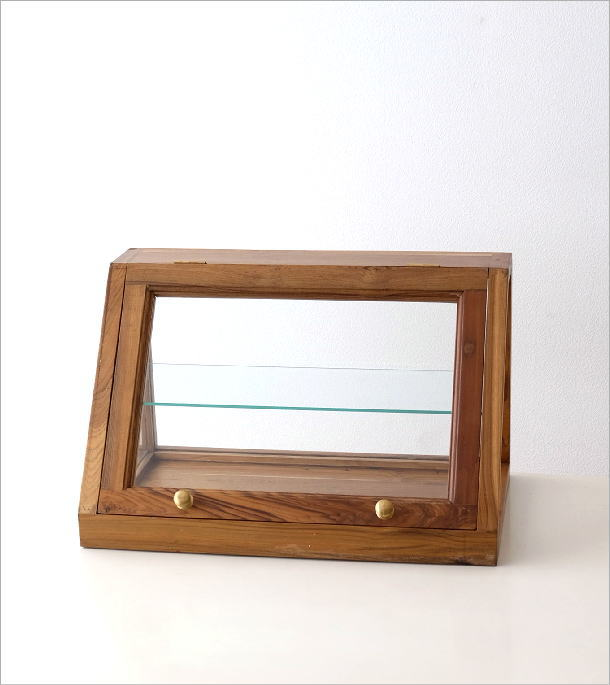 チークウッドとガラスのショーケース(6)