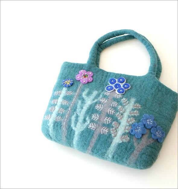 フェルトフラワーパッチ刺繍バッグ(1)