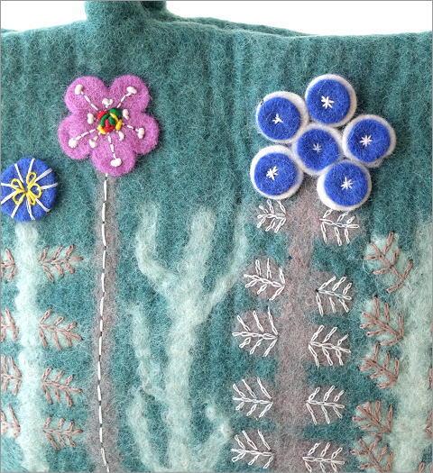 フェルトフラワーパッチ刺繍バッグ(2)