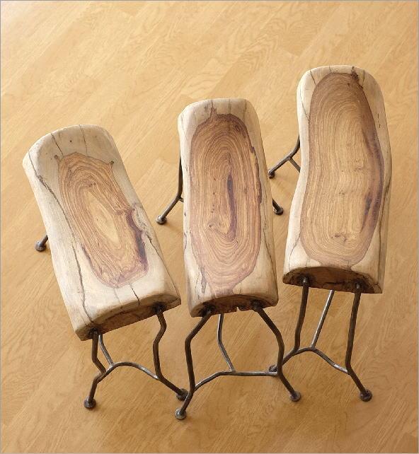 無垢 鉄脚 ウッドとアイアンのアフリカンスツール(3)
