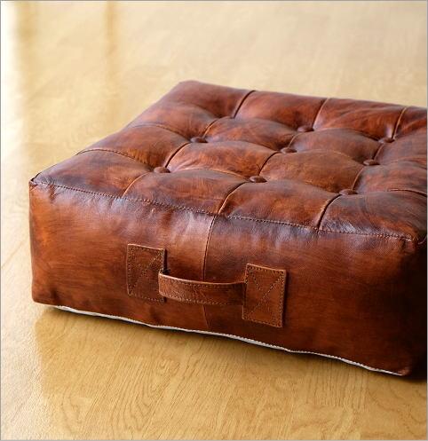 座椅子 本革スクエアフロアークッション(4)