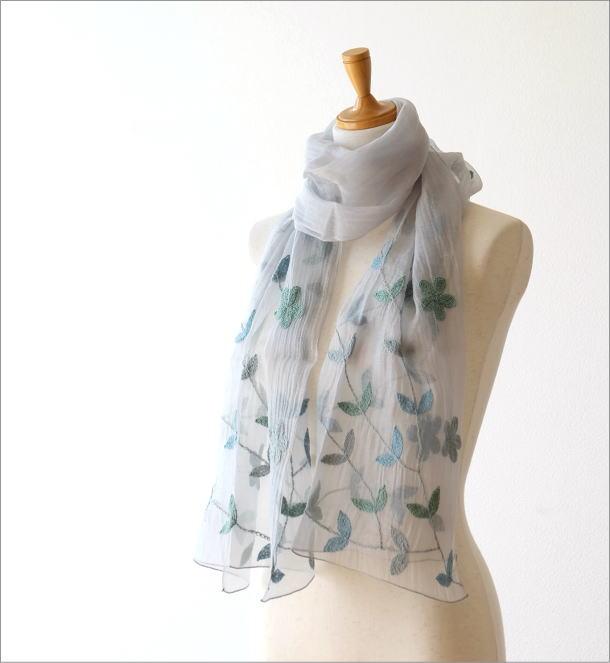 コットンシルクボタニカル刺繍ショール(1)