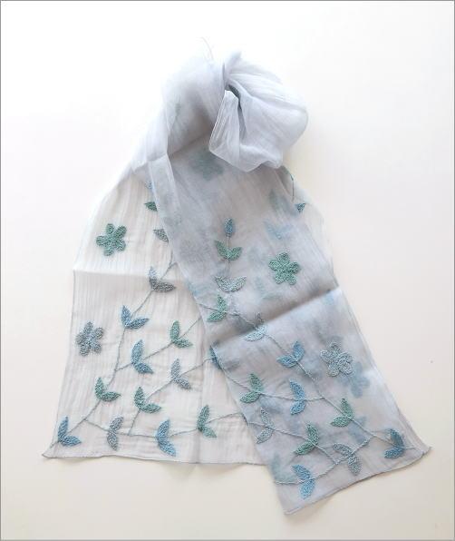 コットンシルクボタニカル刺繍ショール(2)