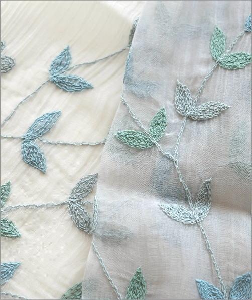 コットンシルクボタニカル刺繍ショール(3)
