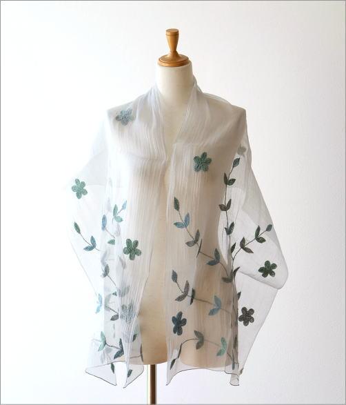 コットンシルクボタニカル刺繍ショール(4)