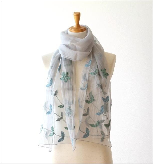 コットンシルクボタニカル刺繍ショール(5)