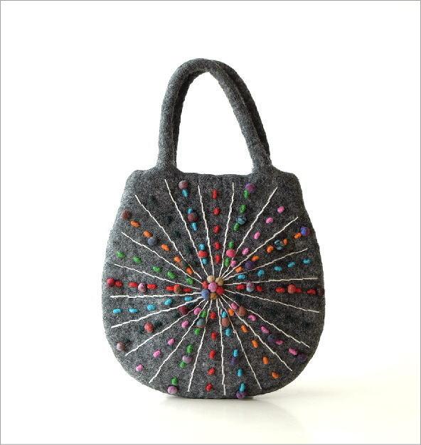 フェルトカラフル刺繍卵型バッグGY(5)