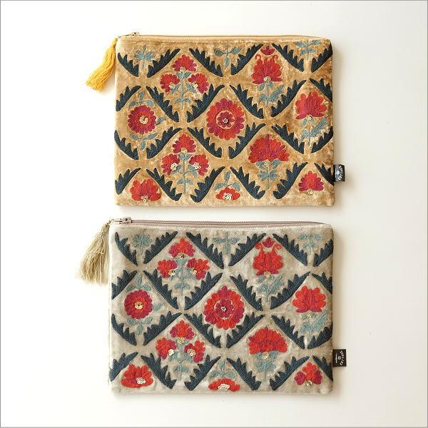 ベロア刺繍フラットポーチL 2カラー(1)