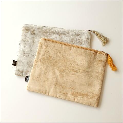 ベロア刺繍フラットポーチL 2カラー(3)