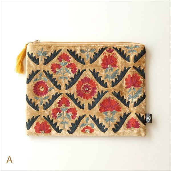 ベロア刺繍フラットポーチL 2カラー(4)