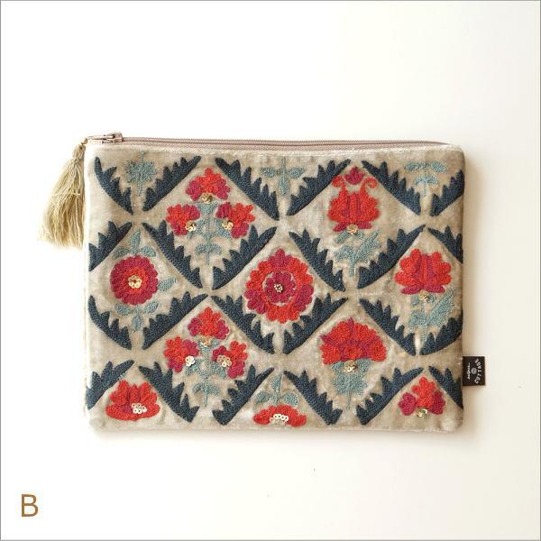 ベロア刺繍フラットポーチL 2カラー(5)