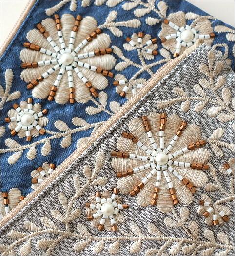 ビーズ刺繍スクエアフラットポーチ 2カラー(3)