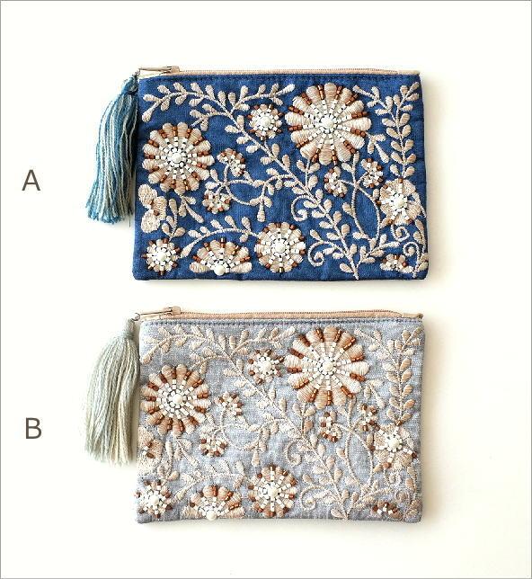 ビーズ刺繍スクエアフラットポーチ 2カラー(5)