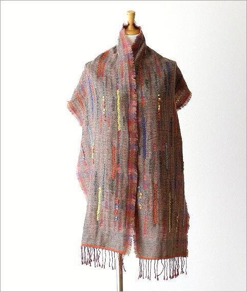 コットンアクリルウールライン刺繍ショール(2)
