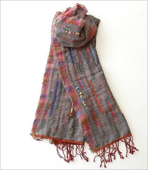 コットンアクリルウールライン刺繍ショール(3)