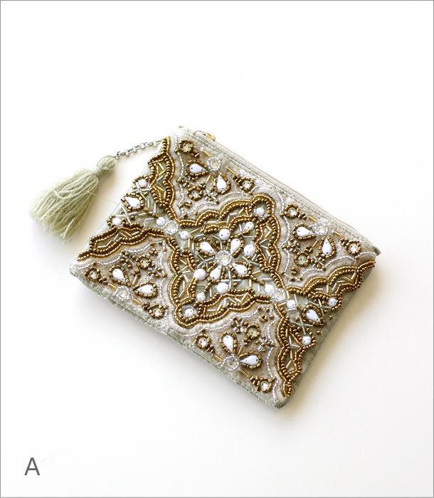 ビーズ刺繍フラットポーチC 2カラー(4)