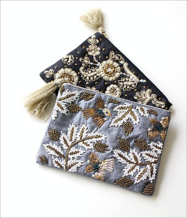 ザリ&刺繍ポーチ 2カラー(1)