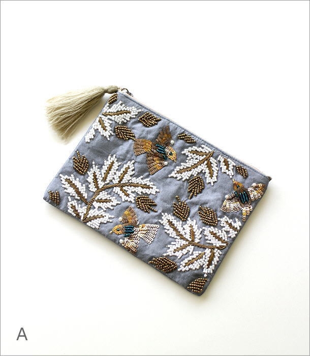 ザリ&刺繍ポーチ 2カラー(4)